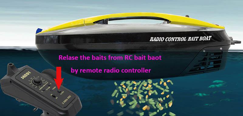 リモート無線コントローラによって rc の餌のボートからの餌を解放しなさい